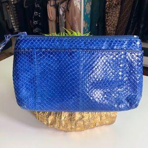 Neiman Marcus Snakeskin Leather Clutch Bag